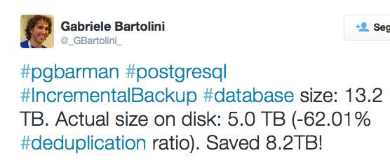#pgbarman #postgresql #IncrementalBackup #database size: 13.2 TB. Actual size on disk: 5.0 TB (-62.01% #deduplication ratio). Saved 8.2TB!