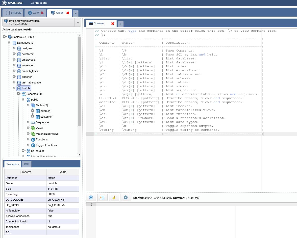 OmniDB: Console Tab - 2ndQuadrant | PostgreSQL