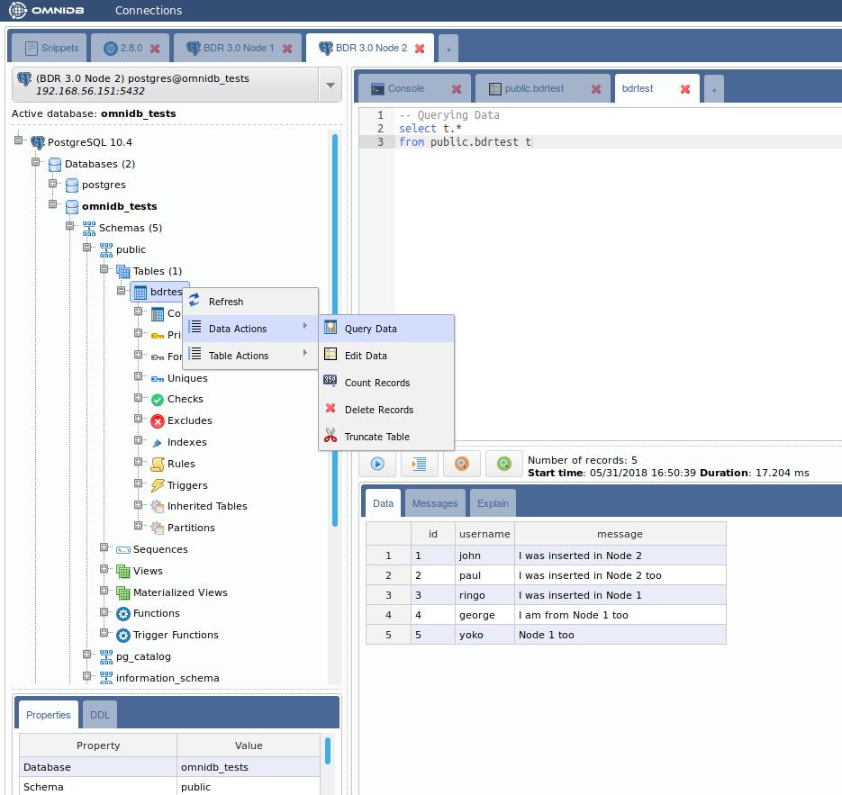 Postgres-BDR 3 0 with OmniDB - 2ndQuadrant | PostgreSQL
