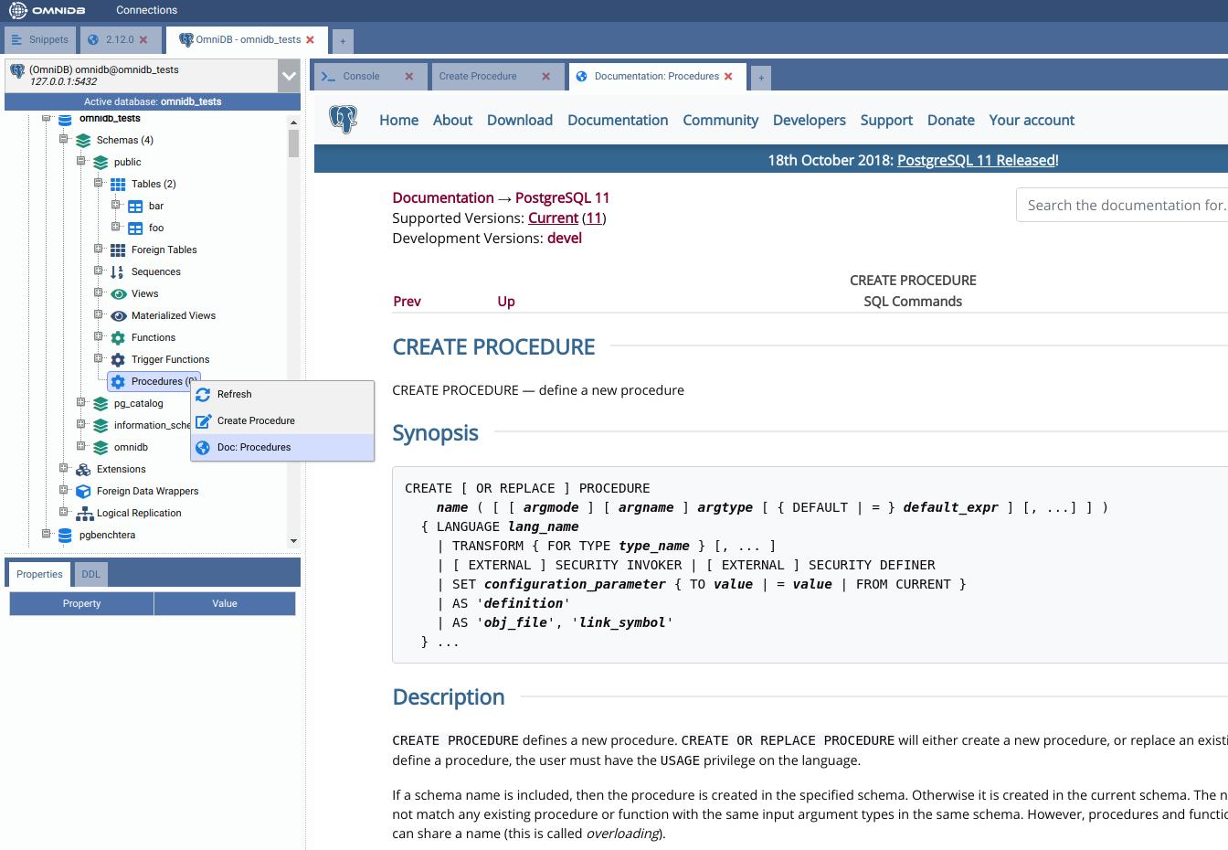 OmniDB debugger for PostgreSQL 11
